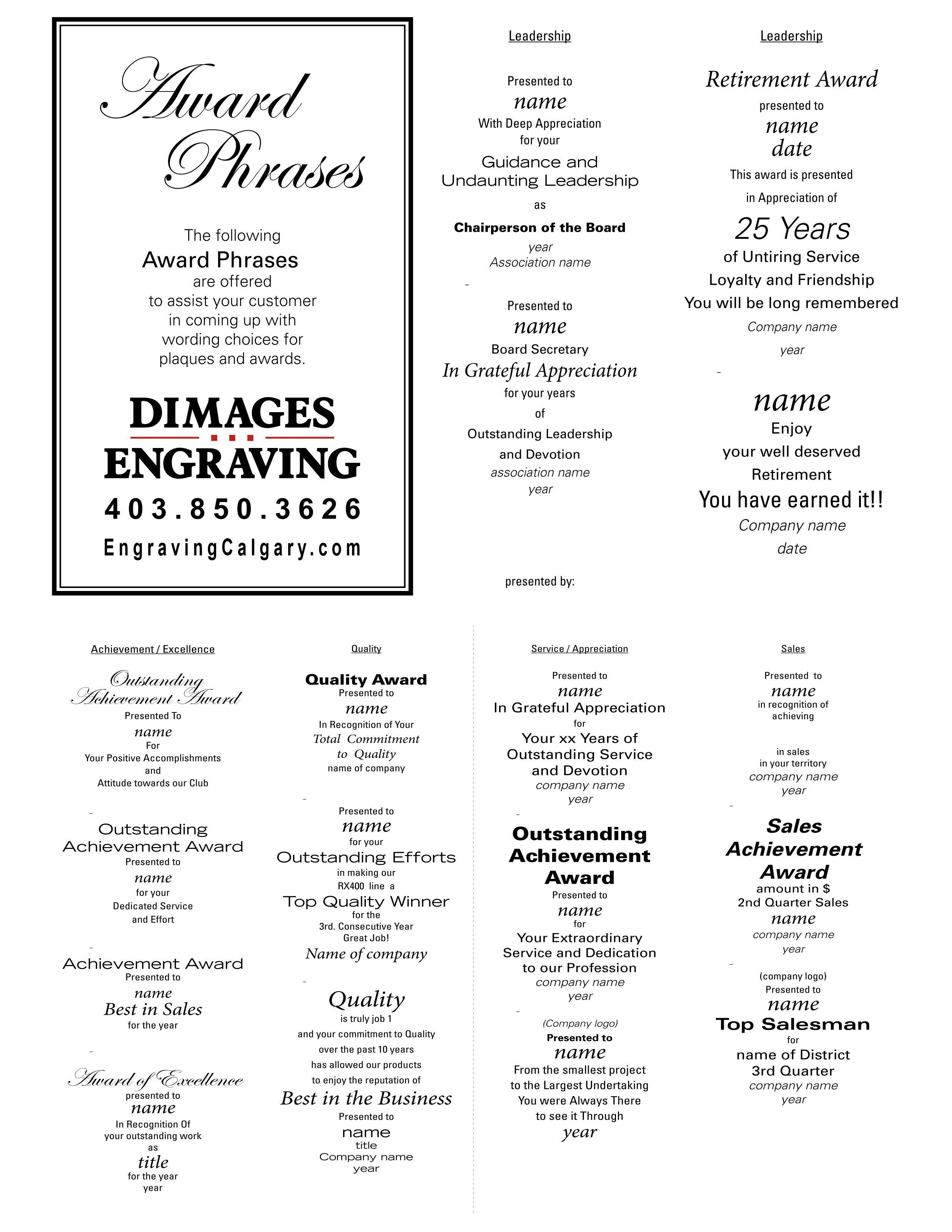 Award Phrases